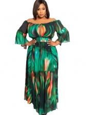 Off Shoulder Printed Ruffled Green Maxi Dress