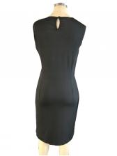 Patchwork Keyhole Sleeveless Bodycon Dress