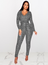 V Neck Long Sleeve Fitted Sequin Jumpsuit