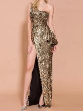 Sequined One Shoulder Evening Maxi Dresses
