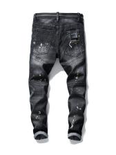 Fashion Patch Rivets Elastic Mens Jeans