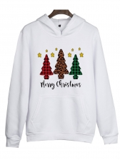 Christmas Tree Print Casual Hoodies For Women