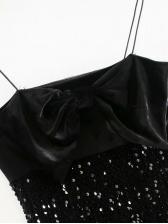 Bowknot Patchwork Slip Sequin Dress
