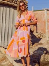 V Neck Color Block Single-Breasted Midi Dress