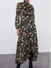 Mock Neck Slim Fit Printed Maxi Dress