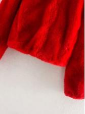 Turndown Collar Solid Color Faux Fur Coat
