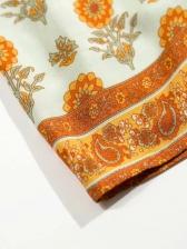 Bohemian Patchwork Ruffled Short Sleeve Midi Dress