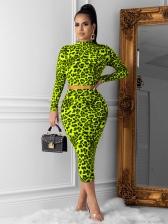 Hot Sale Leopard Print Crop Top And Skirt Set