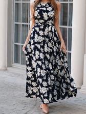 Crew Neck Wrap Sleeveless Floral Maxi Dress