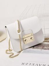 Solid Color Metal Hasp Chain Shoulder Bag