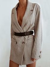 Stylish Plaid Long Sleeve Ladies Blazer