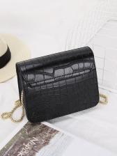 Alligator Print Golden Chain Shoulder Bag