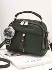 Multiple Zipper Plush Ball Pendant Casual Shoulder Bag