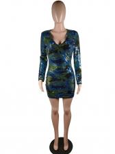 V Neck Bodycon Long Sleeve Sequin Dress
