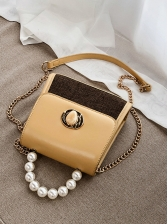 Faux Pearls Handle Stitching Color Chain Shoulder Bag