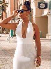 Sexy Open Back White Halter Maxi Dress