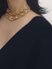 Punk Style Double-Layer Geometric Chain Necklace