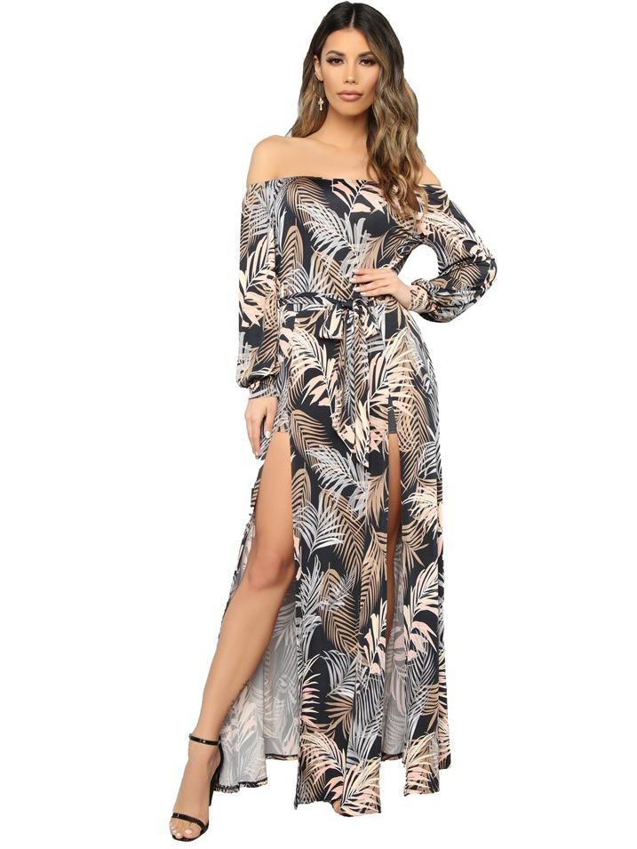 Boat Neck Leaves Printing Split Hem Maxi Dresses