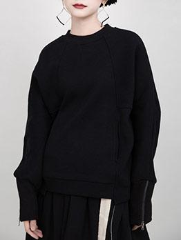 Pure Color Zipper Sleeve Crewneck Sweatshirt