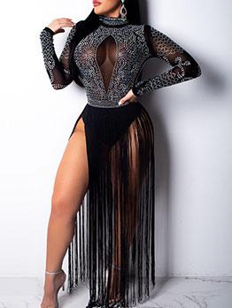Night Club Rhinestone Tassels Sexy Maxi Dresses