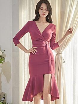 Korean Style V Neck Split Hem Long Sleeve Bodycon Dress