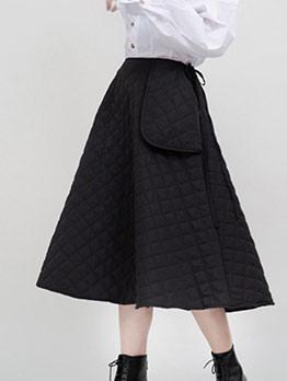 Wide Hem Rhombus Lattice Black A Line Skirt