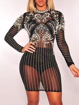 Sexy Rhinestone Patchwork Three Piece Dress Set
