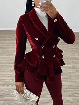 Ruffled Hem Velvet Double Breasted Ladies Coat