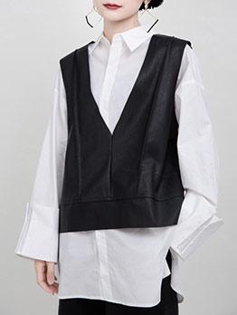 Pu V Neck Black Vest