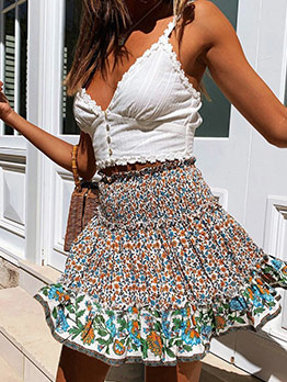 Smart Waist Stringy Selvedge Floral Skirt