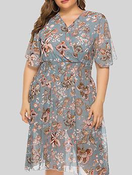 Modern Printed Half Sleeve Plus Size Dresses