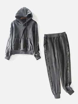 Velvet Pure Color 2 Piece Pants Outfit