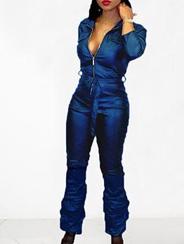 Fashion Zipper Up Stacking Hem Leather Jumpsuit