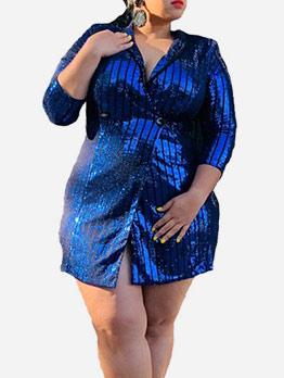 V Neck Glitter Sequin Plus Size Short Dresses