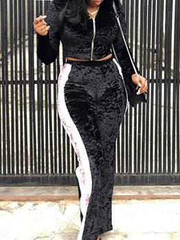 Classical Contrast Color Velvet Two Piece Pants Set