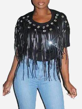 Tassel Diamond Short Sleeve T-shirts For Women