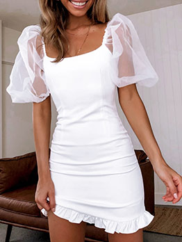 Square Neck Perspective Gauze Puff Sleeve White Dress