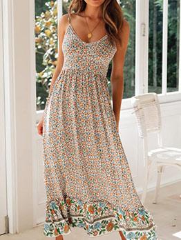 Vacation V Neck Spaghetti Strap Floral Maxi Dress