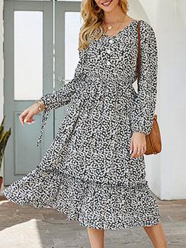 V Neck Midi Long Sleeve Floral Dress