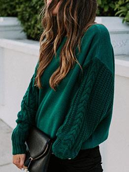 Leisure Long Sleeve Crew Neck Green Sweater