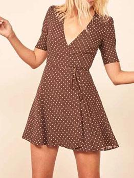 Vintage Style V Neck Lace-Up Polka Dots Women Dress