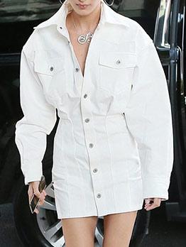 White Slim Waist Long Sleeve Short Dress