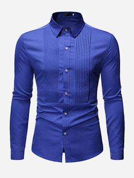 Front Draped Solid Long Sleeve Shirts