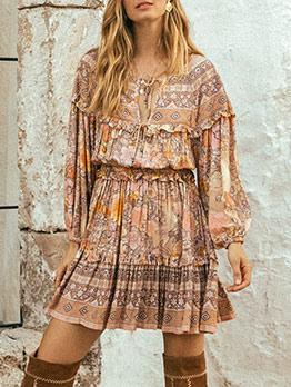 Bohemian Floral Flounce Hem Long Sleeve Dress