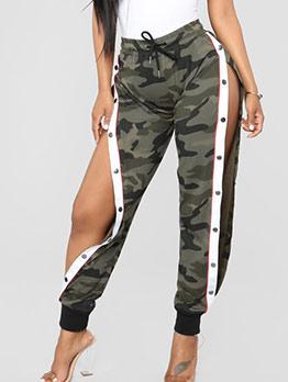 Hot Sale Drawstring Side Button Design Camo Pants