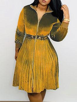 Solid Front Zipper Pleated Hem Long Sleeve Dress