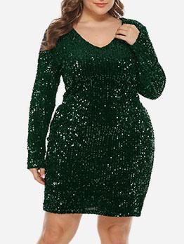 Glitter Sequin Long Sleeve Plus Size Dresses
