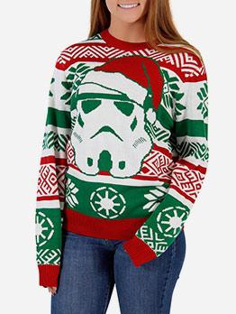 Christmas Stitching Color Santa Claus Unisex Sweater