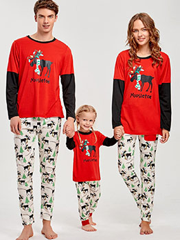 Christmas Pattern 2 Piece Casual Family Clothing Sets