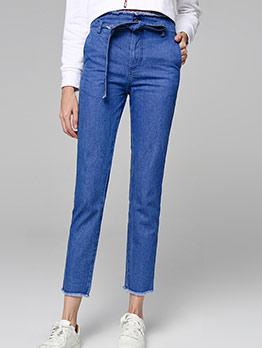 Tassel Hem Solid Paperbag Waist Jeans